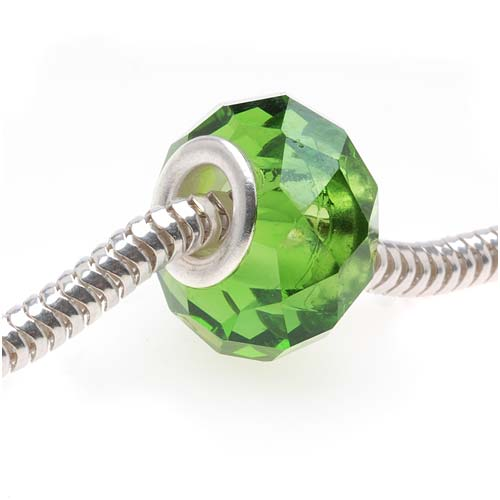 Faceted Glass European Style Large Hole Bead - Emerald Green 14mm (1)