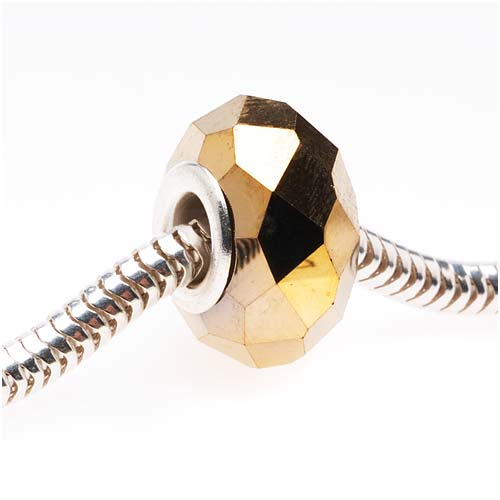 Faceted Glass European Style Large Hole Bead - Metallic Gold 14mm (1)
