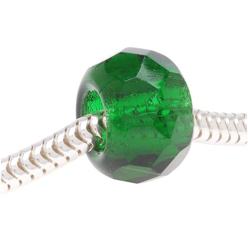 Faceted Czech Glass European Style Large Hole Bead - 'Emerald' Green 12mm (1)