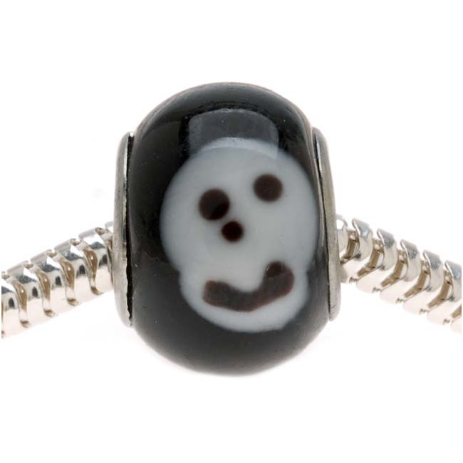 Large Hole Novelty Halloween Lampwork Glass Beads, Skull 14mm, Black and White