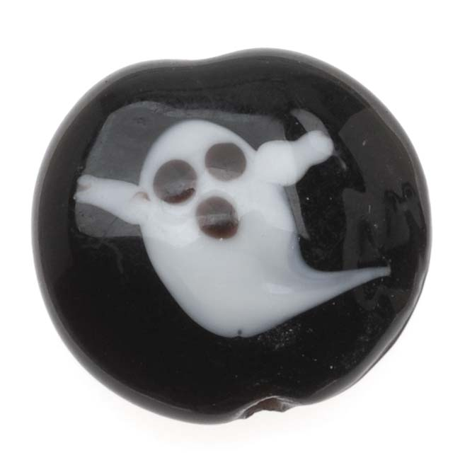 Lampwork Glass Novelty Halloween Beads, Ghost 16mm Lentil, 4 Pieces, Black and White