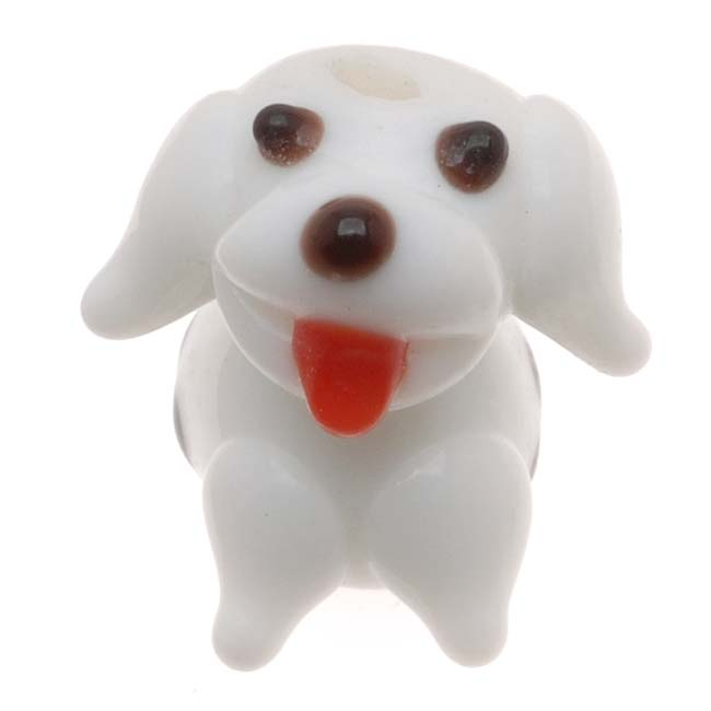 Lampwork Glass Novelty Beads, Puppy Dog with Spots 15-19mm, 4 Pieces, White
