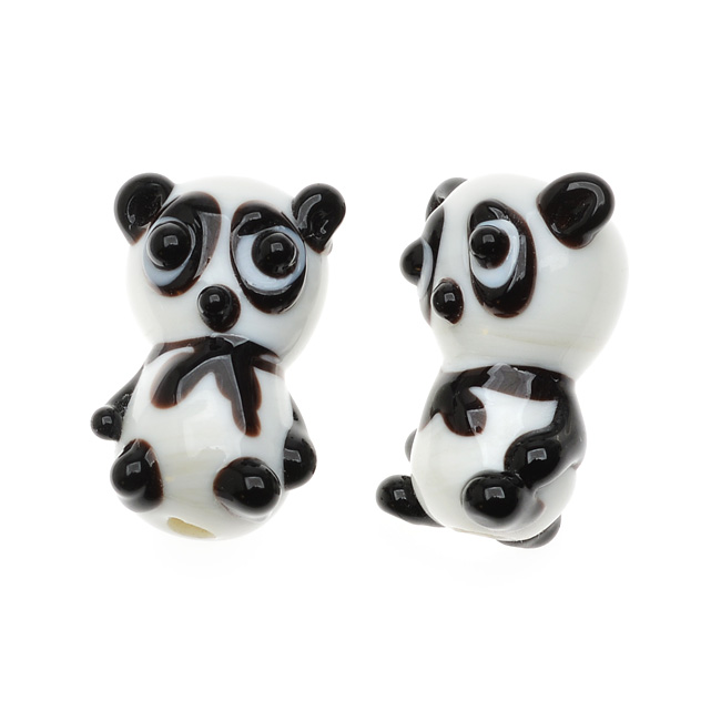Lampwork Glass Novelty Beads, Panda Bears 20.5mm, 2 Pieces, Black and White