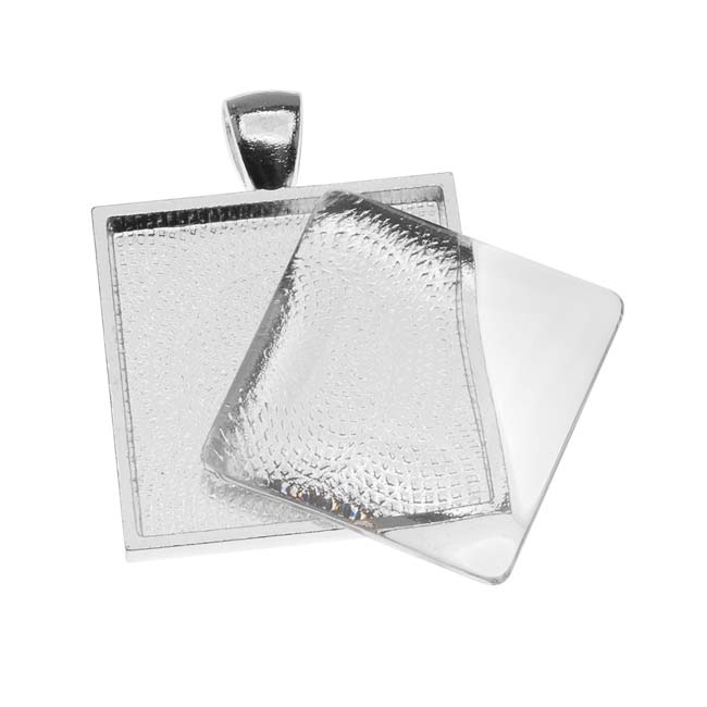 Silver Plated Square Bezel With Glass Square Cabochon 25mm - Pendant Set