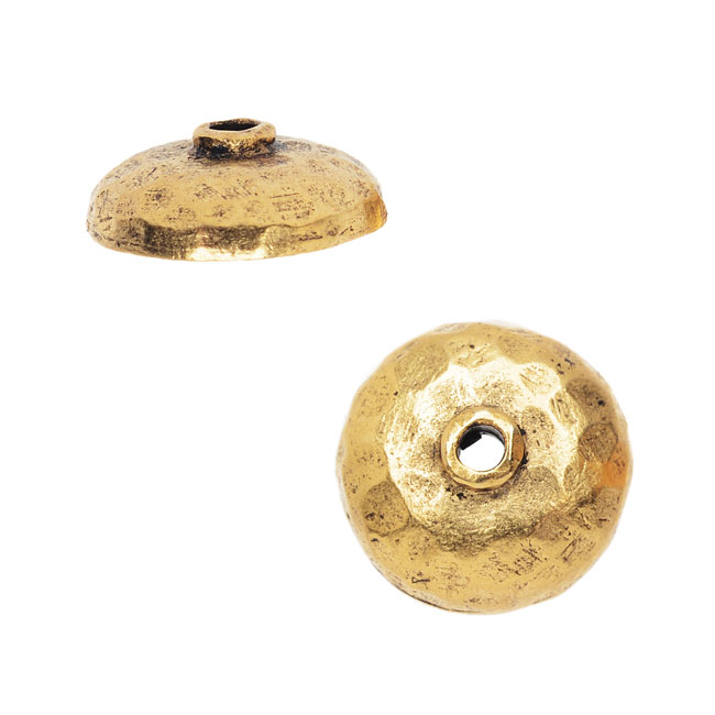 Nunn Design Bead Caps, 10.5mm Hammered, 2 Pieces, Antiqued Gold