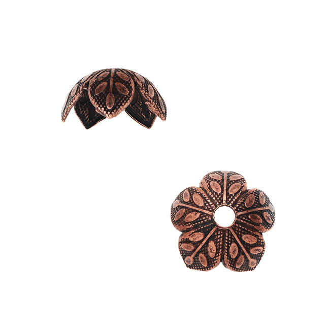 Nunn Design Bead Caps, 9mm Etched Daisy Design, 4 Pieces, Antiqued Copper