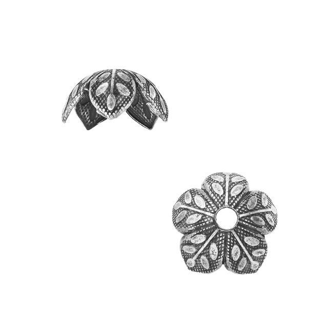 Nunn Design Bead Caps, 9mm Etched Daisy Design, 4 Pieces, Antiqued Silver