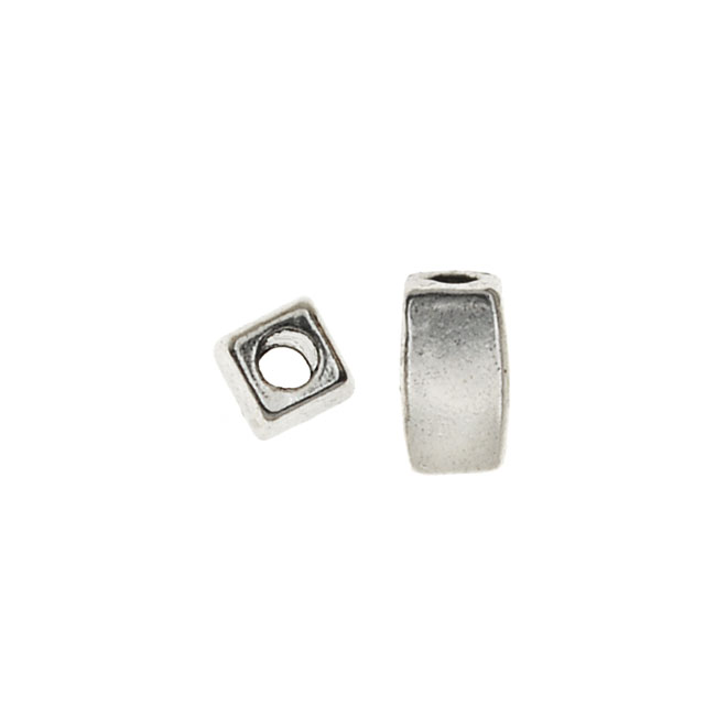 Lead-Free Pewter, Smooth Rectangle Beads 3x5mm, 50 Pieces, Antiqued Silver