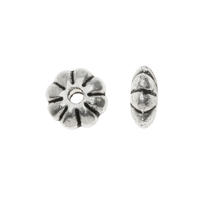 Lead-Free Pewter, Puff Flower Beads 6mm, 12 Pieces, Antiqued Silver