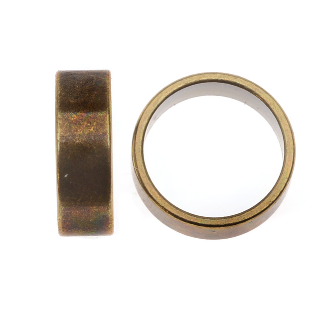 Regaliz Findings, Tube Spacer Bead 12x4mm Fits 10mm Round Cord, 1 Piece, Antiqued Brass