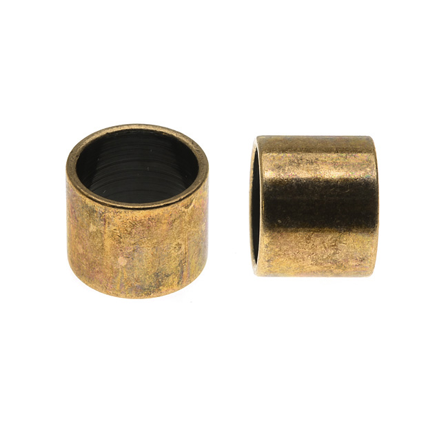 Regaliz Findings, Tube Spacer Bead 12x10mm Fits 10mm Round Cord, 1 Piece, Antiqued Brass