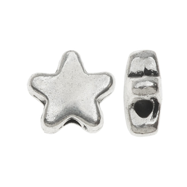 Lead-Free Pewter, Puff Star Beads 7mm, 10 Pieces, Antiqued Silver