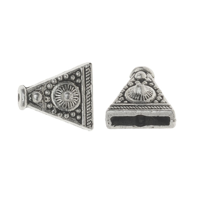 Lead-Free Pewter, Triangle Reducer Beads 9x10mm, 6 Pieces, Antiqued Silver