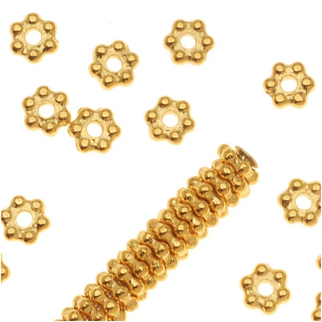 TierraCast Bright 22K Gold Plated Pewter Daisy Spacer Beads 3mm (50)