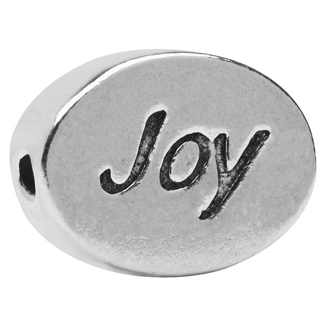 Lead-Free Pewter Message Bead, 'Joy' 11x8mm, 1 Piece, Antiqued Silver