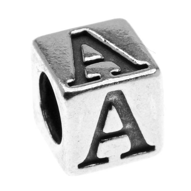 Lead-Free Pewter Alphabet Bead, Letter 'A' 5.5mm Cube, 1 Piece, Antiqued Silver