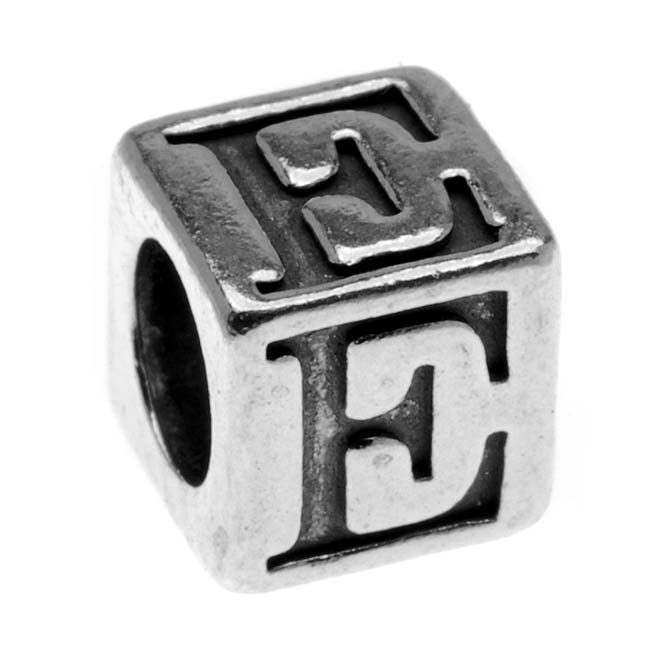 Final Sale - Lead-Free Pewter Alphabet Bead, Letter 'E' 5.5mm Cube, 1 Piece, Antiqued Silver