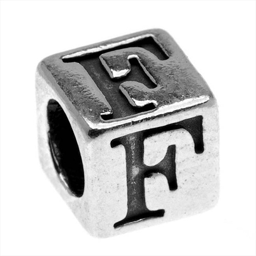 Final Sale - Lead-Free Pewter Alphabet Bead, Letter 'F' 5.5mm Cube, 1 Piece, Antiqued Silver
