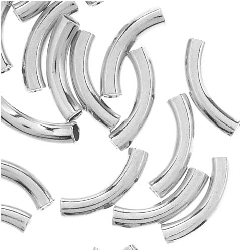 Silver Plated Curved Noodle Tube Beads 2mm x 10mm (50)
