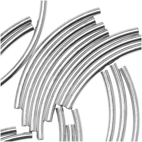 Silver Plated Curved Noodle Tube Beads 1.5mm x 20mm (50)