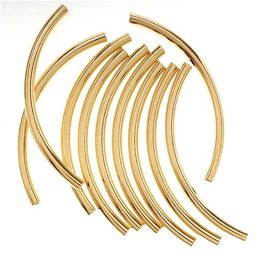 22K Gold Plated Long Curved Noodle Tube Beads 3mm x 50mm (10)