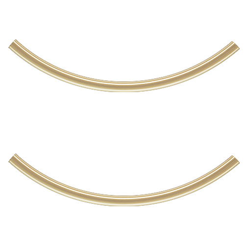 14K Gold Filled Long Curved Noodle Tube Beads 40mm x 2mm (2)