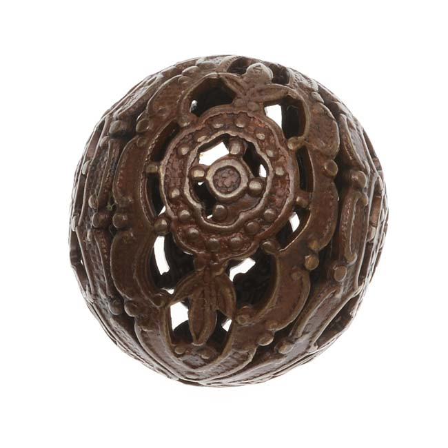 Vintaj Natural Brass Ornate Round Filigree Focal Bead Wrap 20mm (1)