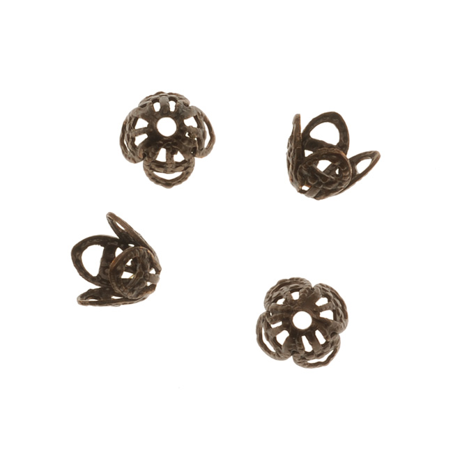 Vintaj Natural Brass 7mm Filigree Bead Caps (4)