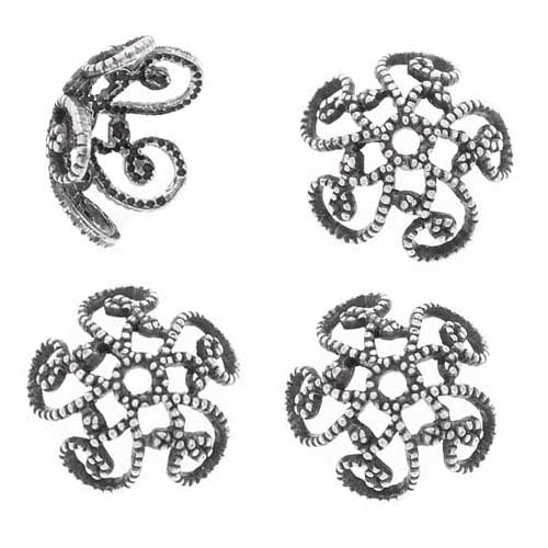 Antiqued Silver Plated Filigree Spiral Bead Caps 10mm (4)