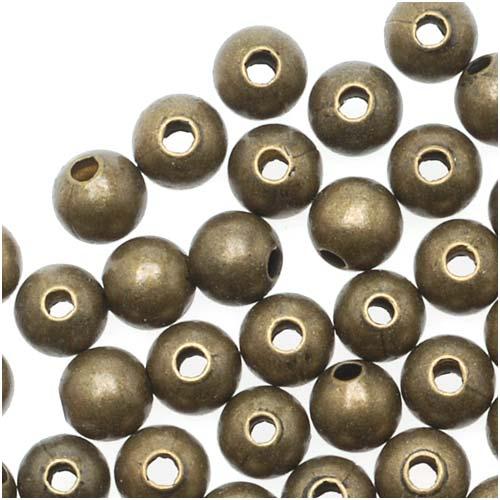 Antiqued Brass Sleek Round Beads 4mm (100 Beads)