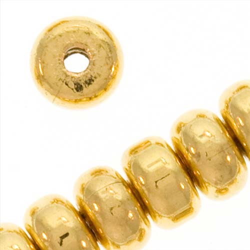 22K Gold Plated Thick Heishe Spacers Beads 4.5mm x 2.5mm (144)