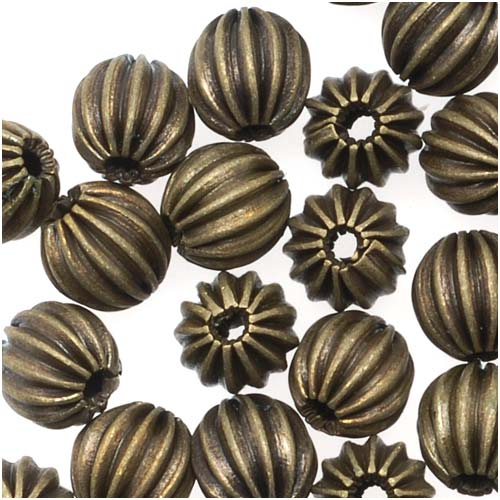 Antiqued Brass Fluted Round Beads 5.5mm (72 Beads)