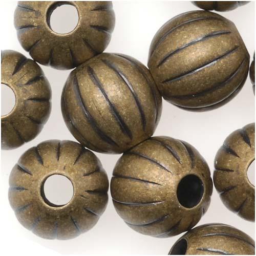 Antiqued Brass Balloon Round Beads 8mm (20 Beads)