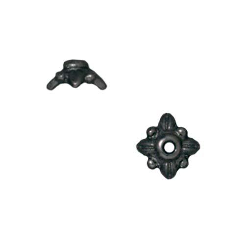 TierraCast Black Finish Pewter 'Leaf' Bead Caps 5.7mm (4)
