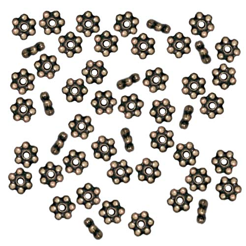 TierraCast Brass Oxide Finish Pewter Daisy Spacer Beads 3mm (50)