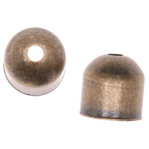 Antiqued Brass Large Capsule Bead Caps 8x8mm (10)