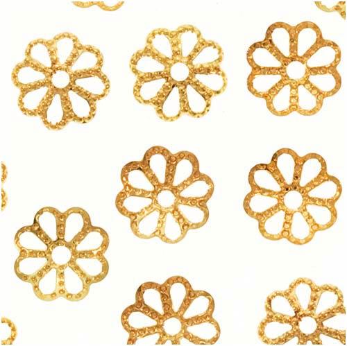 22K Gold Plated Open Petal Flower Bead Caps 7mm (50)