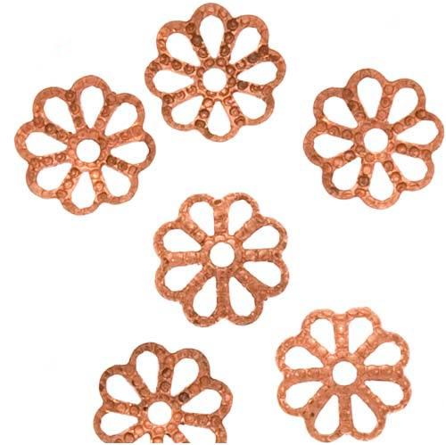 Genuine Copper Open Petal Flower Bead Caps 7mm (50)