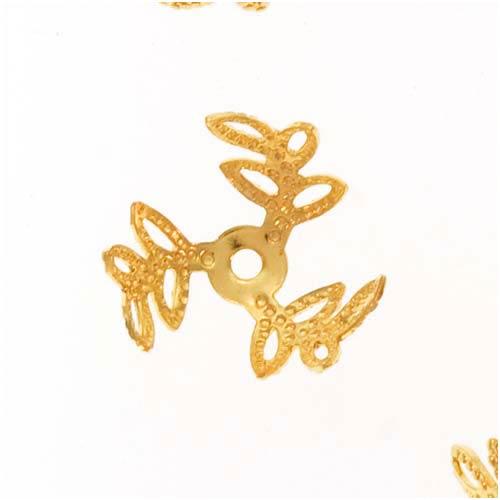 22K Gold Plated Filigree Open Leaf Bead Caps 12mm (12)