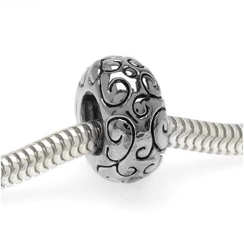 Silver Tone European Style Large Hole Spacer Bead With Scrolling Vine Pattern (1)