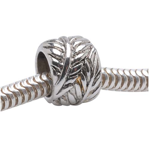 Silver Tone European Style Large Hole Spacer Bead With Wrapped Leaf Design (1)