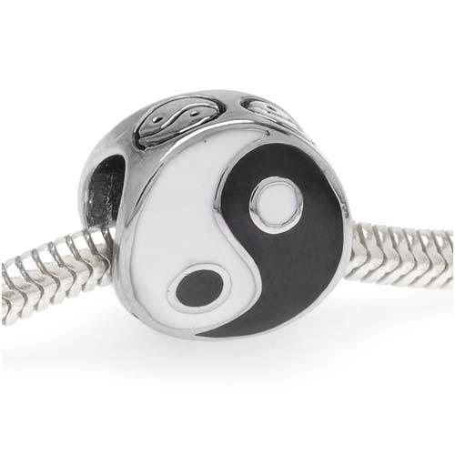 Silver Tone With Black And White Enamel Yin Yang Symbol European Style Large Hole Bead (1)
