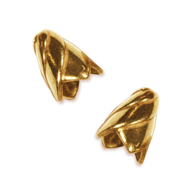 22K Gold Plated Cone Bead Caps Spiral 12.5mm (2)