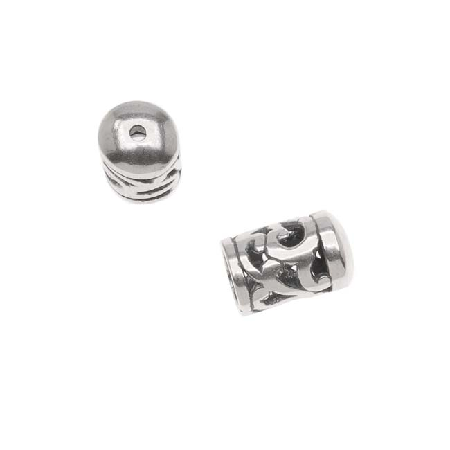 Antiqued Silver Plated Bead/Cord End Caps Openwork Vine Pattern 10.5x6.5mm (2)