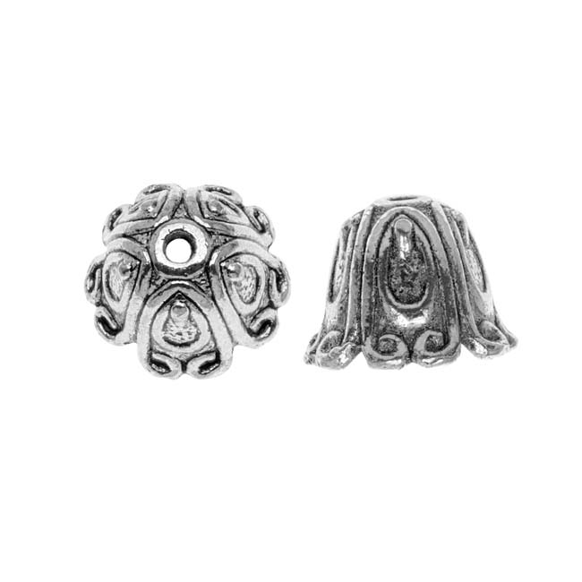 Lead-Free Pewter Bead Caps & Cones, Bali Design 14mm, 2 Pieces, Antiqued Silver