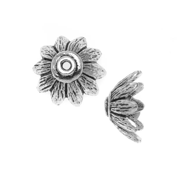 Lead-Free Pewter Bead Caps & Cones, Flower Petals 14.5mm, 2 Pieces, Antiqued Silver
