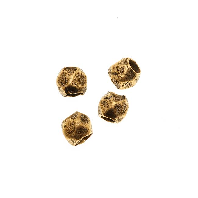 Nunn Design Antiqued Gold Plated Faceted Round Bead 3.4x4mm (4)
