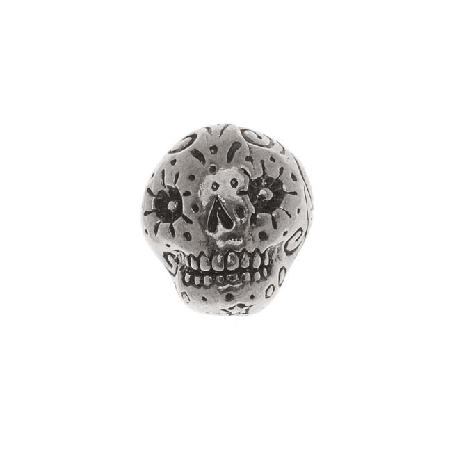 Green Girl Studios Pewter Dia De Los Muertos Sugar Skull Focal Bead