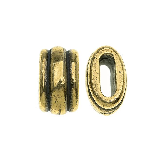 TierraCast Brass Oxide Finish Lead-Free Pewter Deco Barrel Slider Bead 10.5mm - Pack of 2