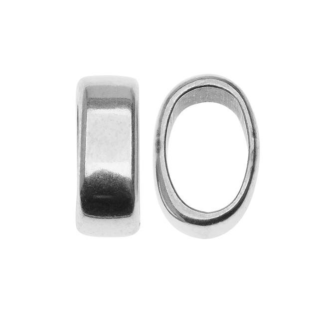 Final Sale - Antiqued Silver Plated Sliced Ring Spacer For Regaliz 10mm Rubber Cord - 1 Piece